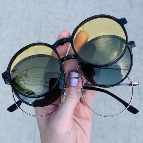 oticagriss oculos clip on redondo grafite 185 6