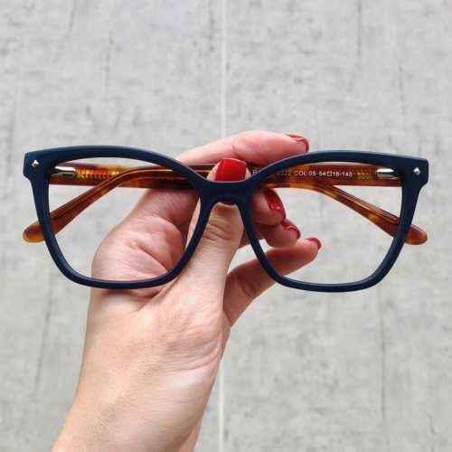 oticagriss oculos de grau quadrado azul com tartaruga 183