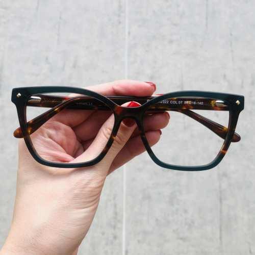 oticagriss oculos de grau quadrado verde com tartaruga 183