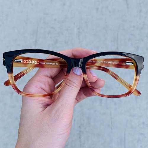 oticagriss oculos de grau retangular preto com tartaruga 188