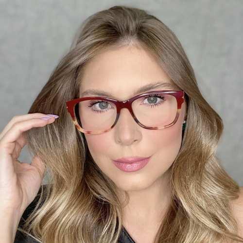 oticagriss oculos de grau retangular vinho com tartaruga 188