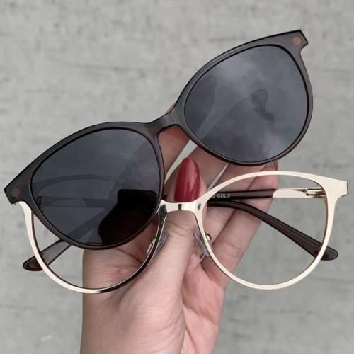 oticagriss oculos clip on marrom 205