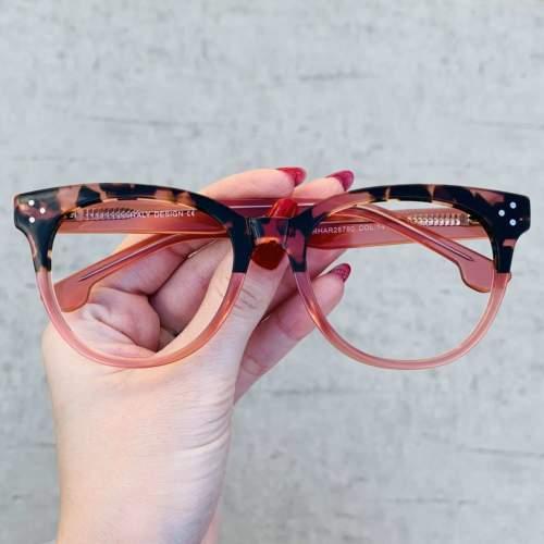 oticagriss oculos de grau retangular rosa 209