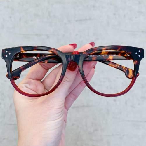 oticagriss oculos de grau retangular vermelho com tartaruga 209