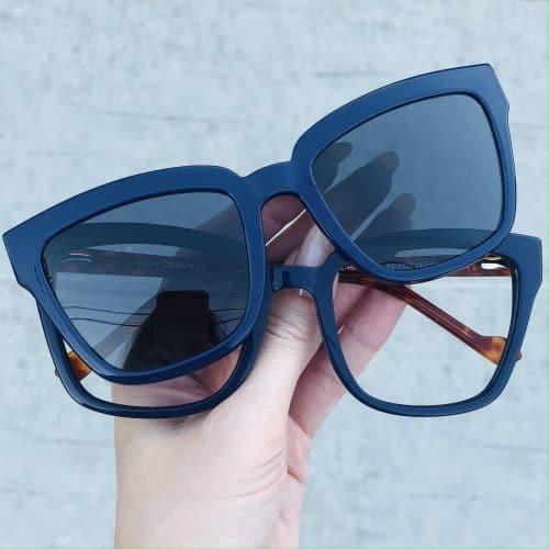 oticagriss oculos clip on em acetato quadrado azul 227