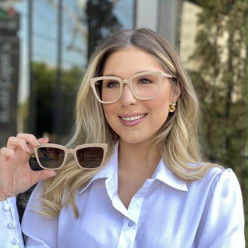 oticagriss oculos clip on em acetato quadrado nude 227 4