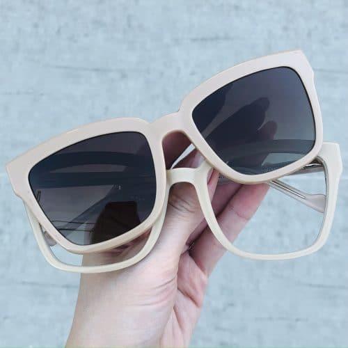 oticagriss oculos clip on em acetato quadrado nude 227