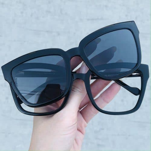 oticagriss oculos clip on em acetato quadrado preto 227