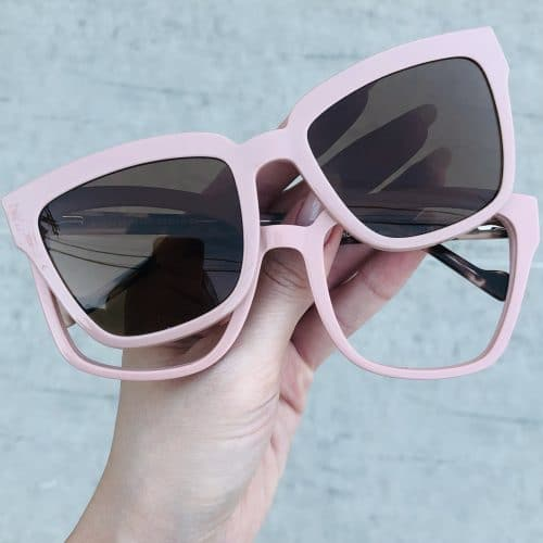 oticagriss oculos clip on em acetato quadrado rosa 227