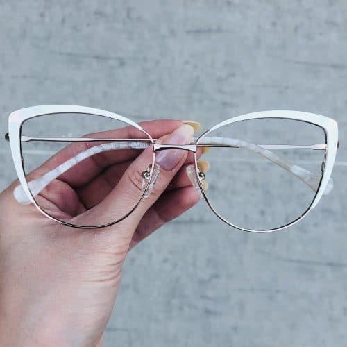 oticagriss oculos de grau em metal gatinho branco 222