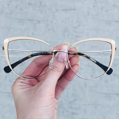 oticagriss oculos de grau em metal gatinho nude 222