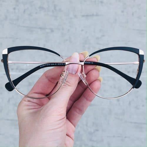 oticagriss oculos de grau em metal gatinho preto 222