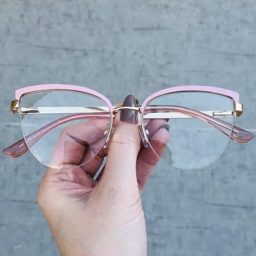 oticagriss oculos de grau em metal gatinho rosa 220