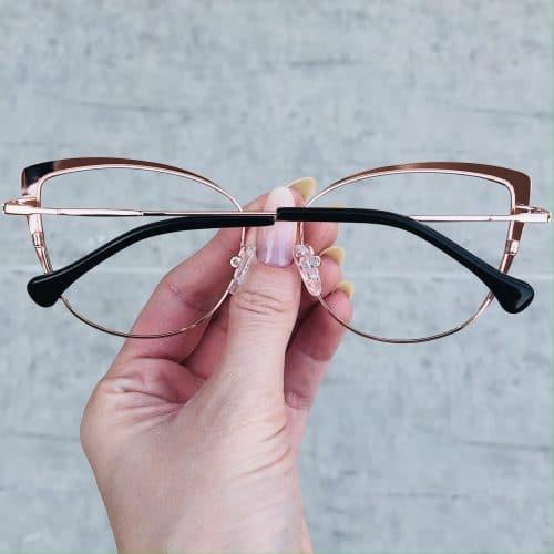 oticagriss oculos de grau em metal gatinho rose 222