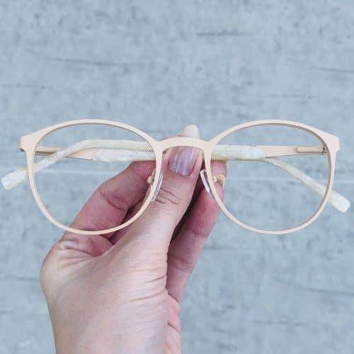 oticagriss oculos de grau em metal redondo nude 226