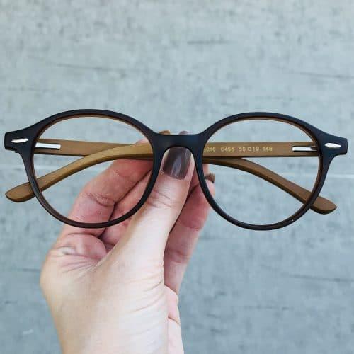 oticagriss oculos de grau redondo marrom 221