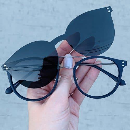 oticagriss oculos clip on 2 em 1 redondo azul 239