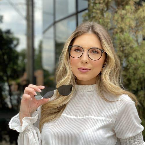 oticagriss oculos clip on 2 em 1 redondo dourado com preto 239 5