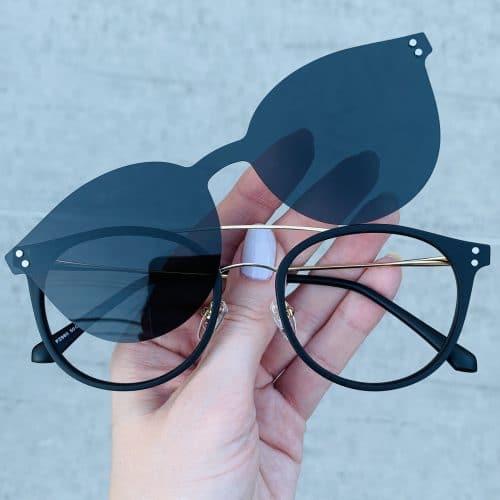oticagriss oculos clip on 2 em 1 redondo dourado com preto 239