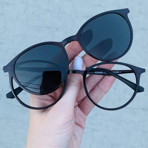 oticagriss oculos clip on 2 em 1 redondo marrom 241