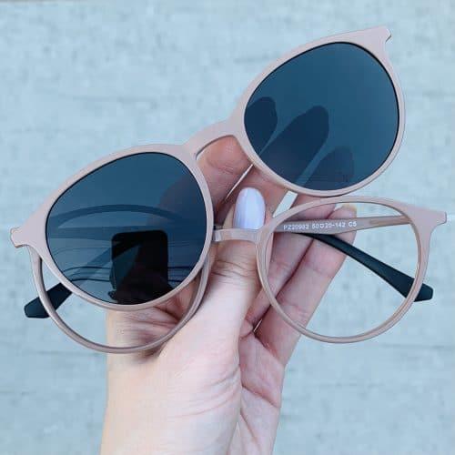 oticagriss oculos clip on 2 em 1 redondo nude 241