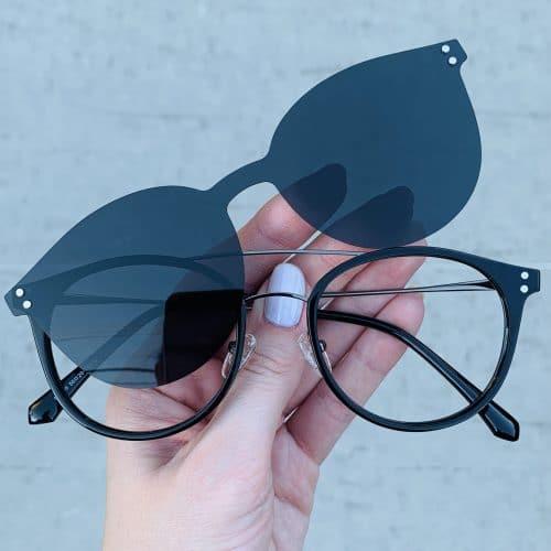 oticagriss oculos clip on 2 em 1 redondo prata com preto 239