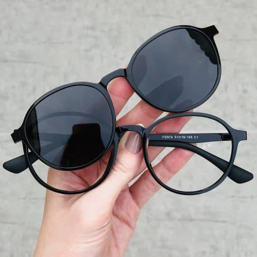 oticagriss oculos clip on 2 em 1 redondo preto 237