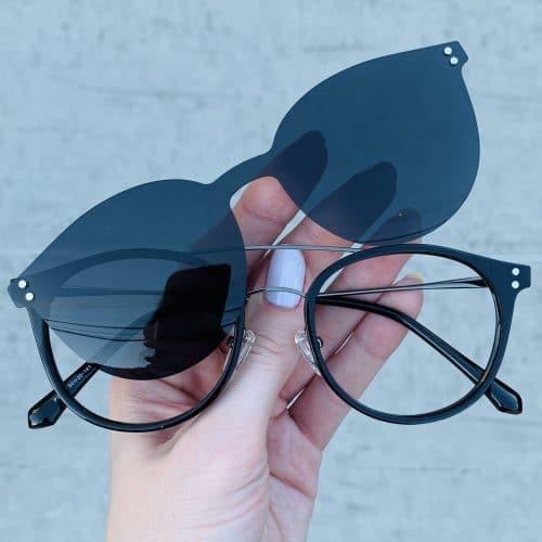 oticagriss oculos clip on 2 em 1 redondo preto 239