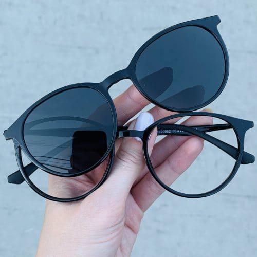 oticagriss oculos clip on 2 em 1 redondo preto 241