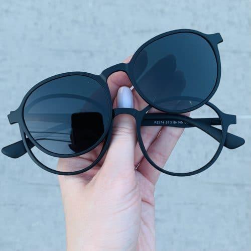 oticagriss oculos clip on 2 em 1 redondo preto fosco 237