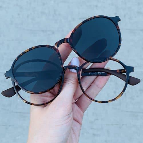 oticagriss oculos clip on 2 em 1 redondo tartaruga 237