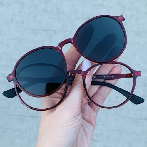 oticagriss oculos clip on 2 em 1 redondo vermelho 237