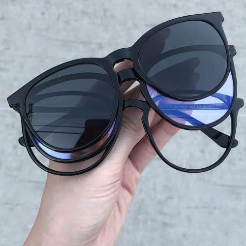 oticagriss oculos clip on 3 em 1 retangular preto 231