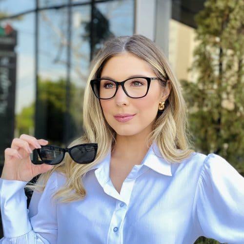 oticagriss oculos clip on em acetato gatinho preto 228 4