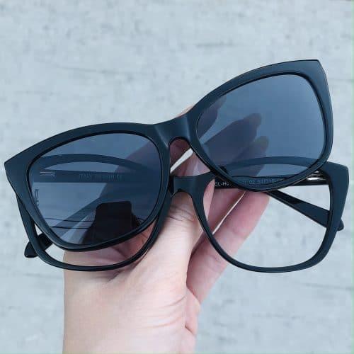 oticagriss oculos clip on em acetato gatinho preto 228