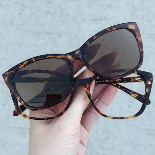 oticagriss oculos clip on em acetato gatinho tartaruga 228