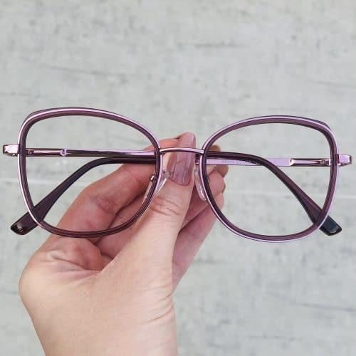 oticagriss oculos de grau em metal quadrado roxo 232