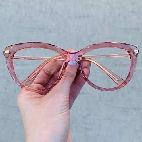 oticagriss oculos de grau gatinho rosa 240
