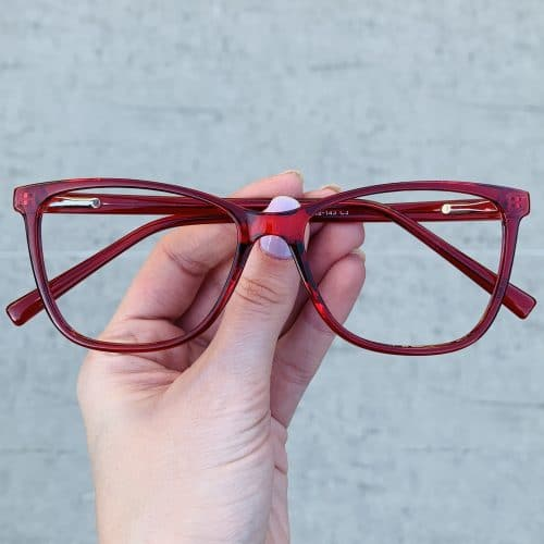 oticagriss oculos de grau quadrado vermelho 234