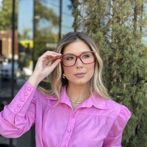 oticagriss oculos de grau quadrado vermelho 242 4