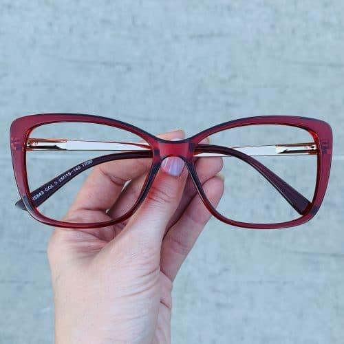 oticagriss oculos de grau quadrado vermelho 242