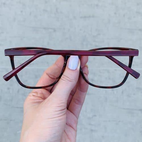 oticagriss oculos de grau quadrado vermelho com tartaruga 234 1