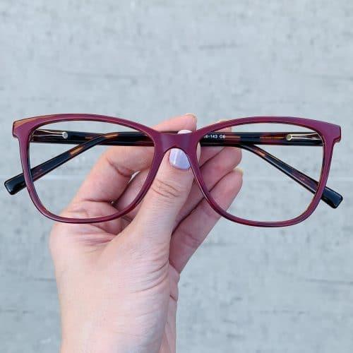 oticagriss oculos de grau quadrado vermelho com tartaruga 234